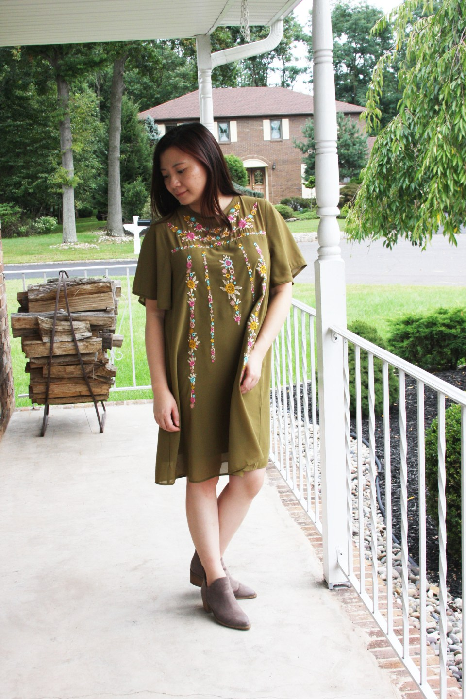 Embroidered Olive Dress 3