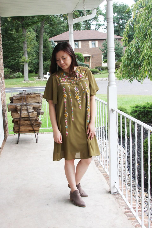 Embroidered Olive Dress 4