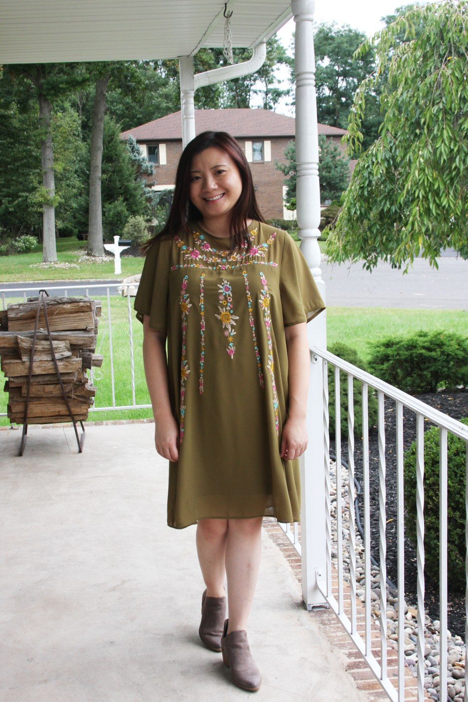 Embroidered Olive Dress 5