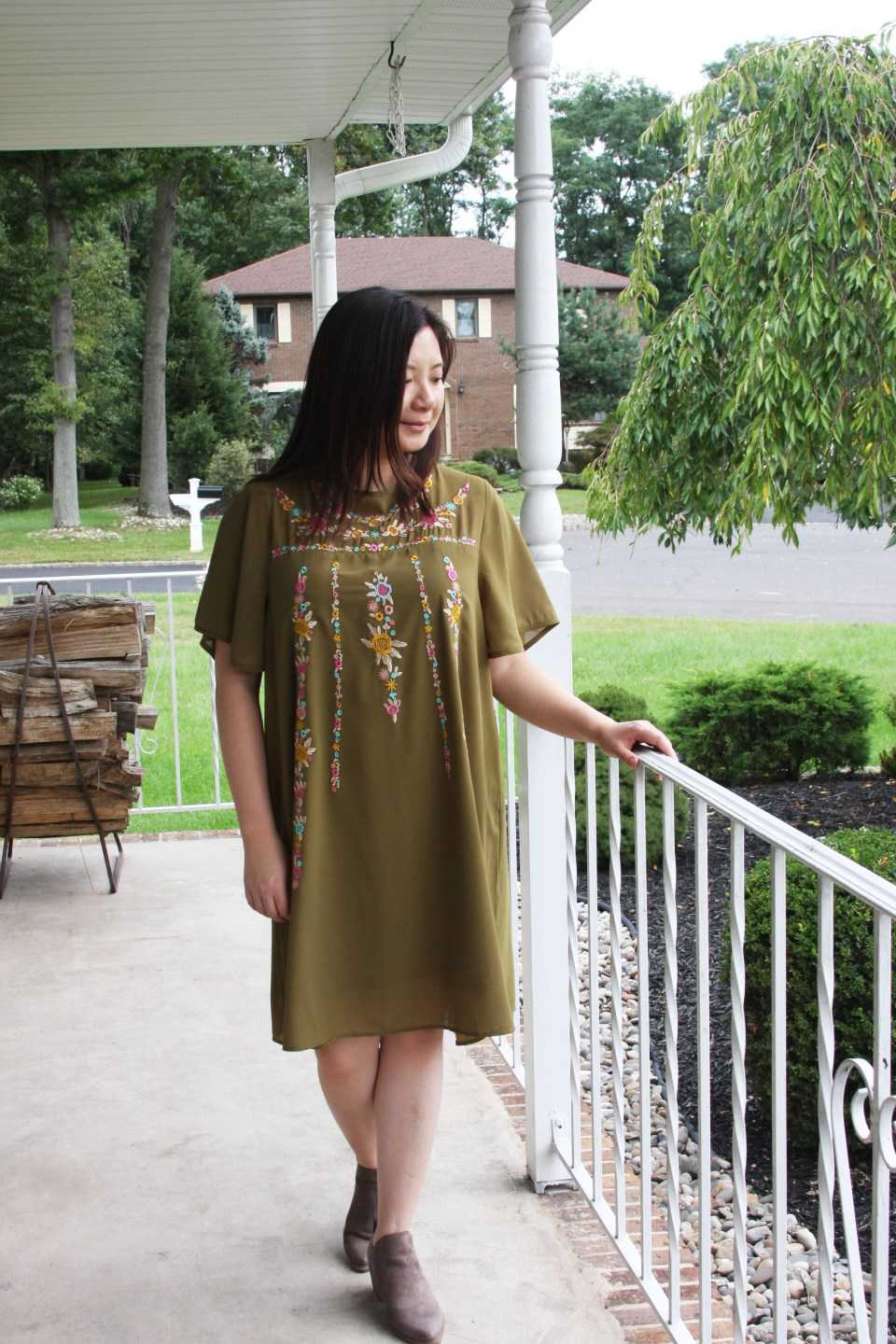 Embroidered Olive Dress 6