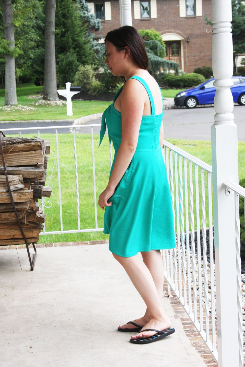 Green Front Tie Dress 1