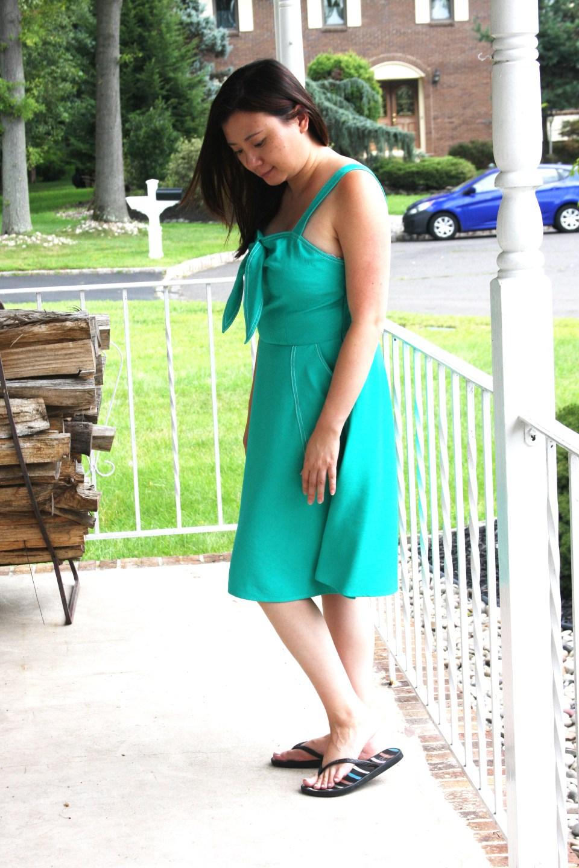 Green Front Tie Dress 2
