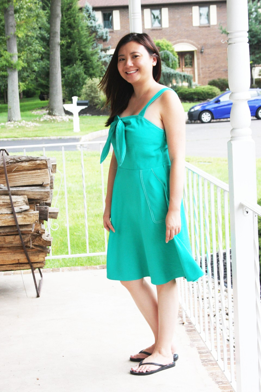 Green Front Tie Dress 3