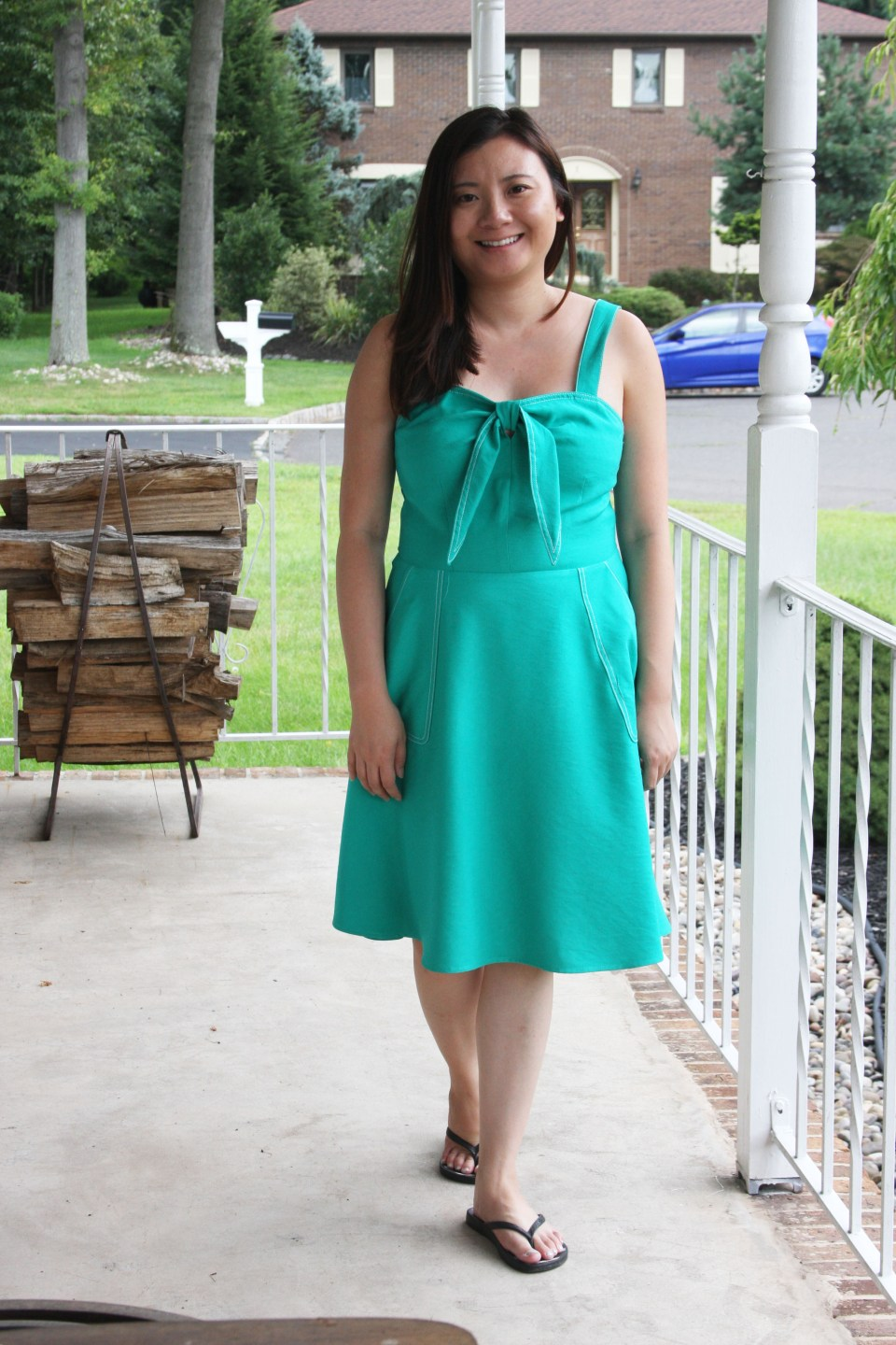 Green Front Tie Dress 9