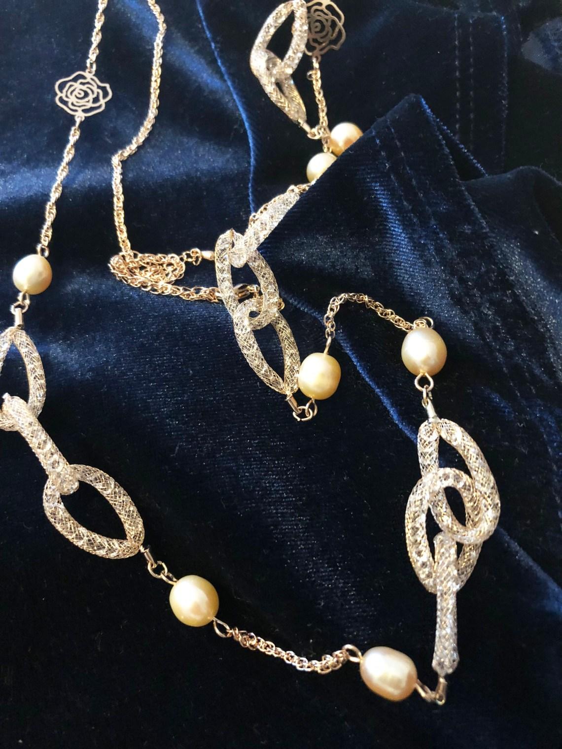 Embellished Necklace + Blue Velvet Top