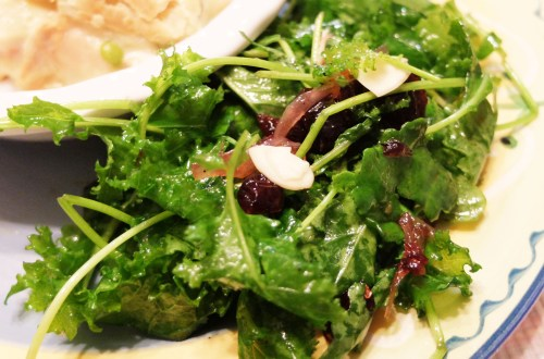 Kale Salad + Cranberry & Almond Vinaigrette
