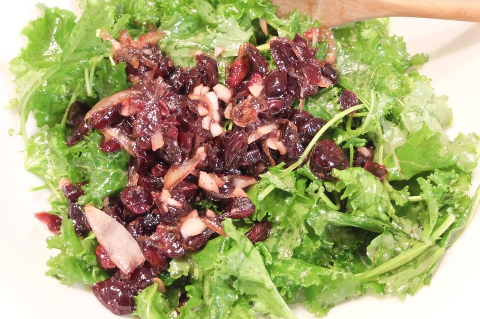 Kale Salad + Cranberry & Almond Vinaigrette