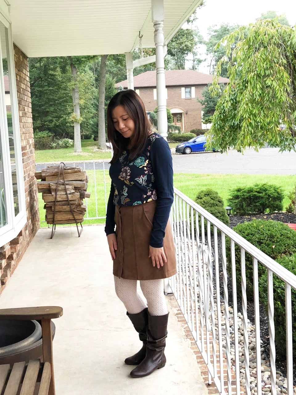 Painted Floral Top + Faux Suede Skirt 2