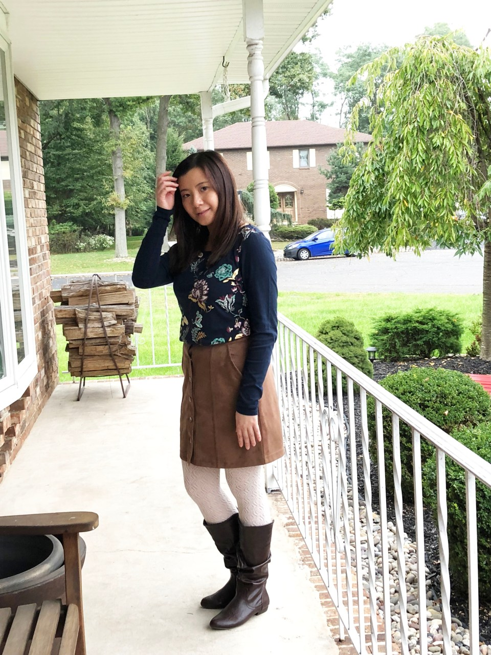 Painted Floral Top + Faux Suede Skirt 3