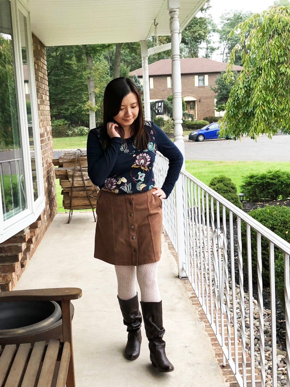 Painted Floral Top + Faux Suede Skirt 4