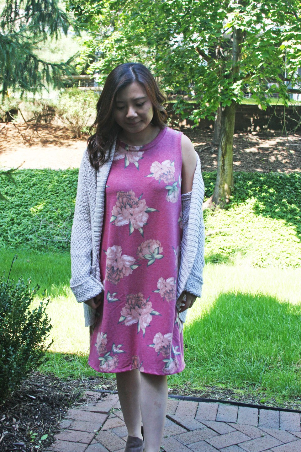 Pink Floral French Terry Dress 10