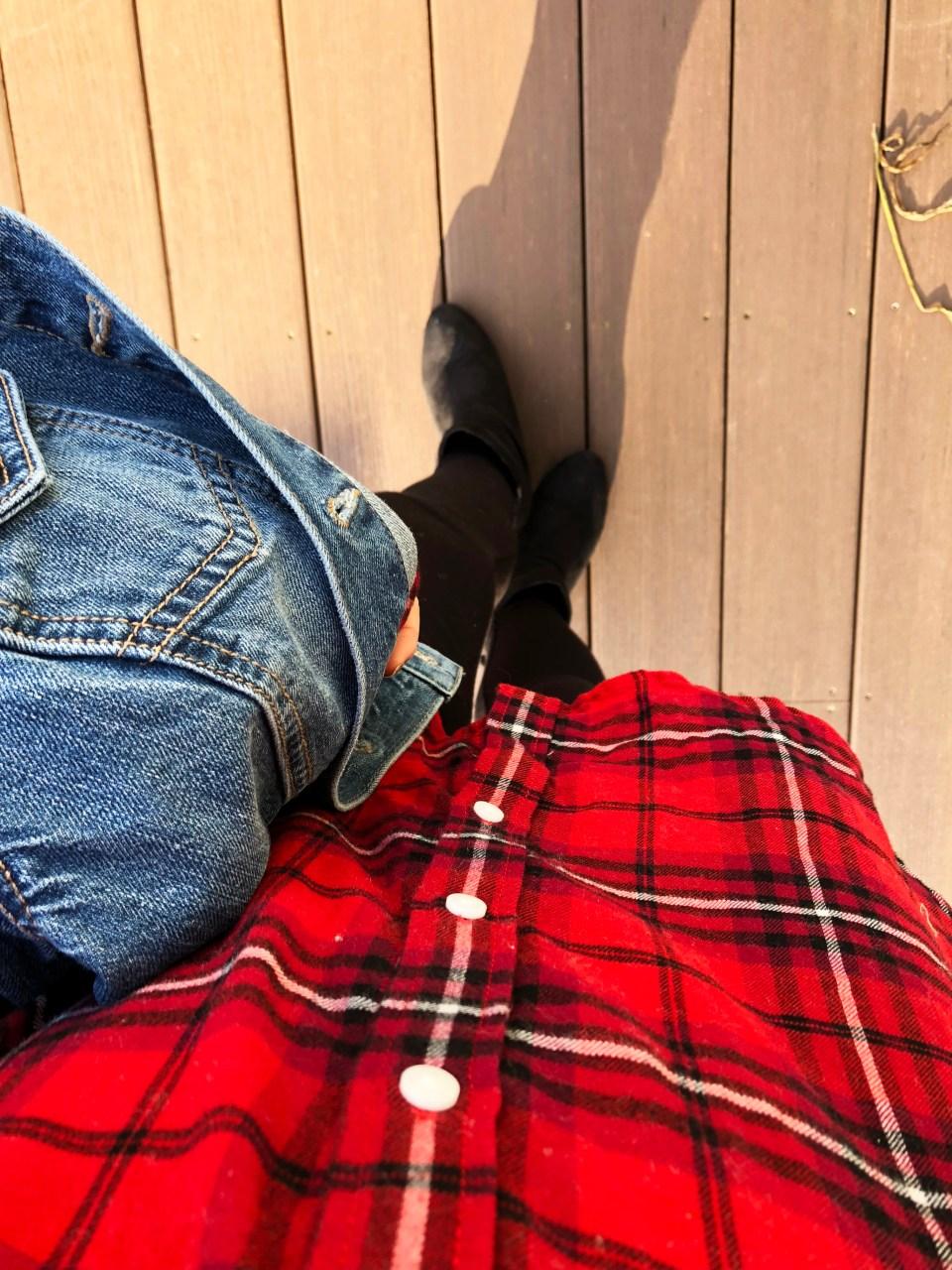 Plaid & Lace Top + Denim Jacket 11
