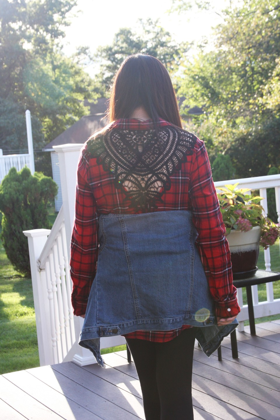 Plaid & Lace Top + Denim Jacket 3