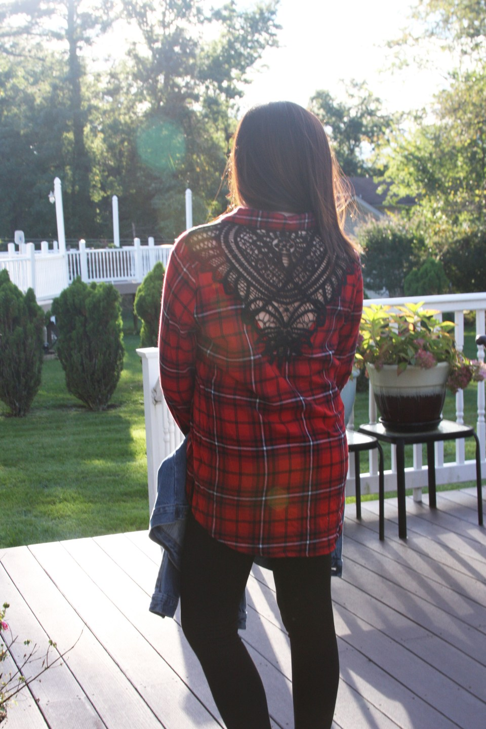 Plaid & Lace Top + Denim Jacket 9
