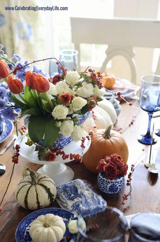 Blue - White - Orange Tablescape