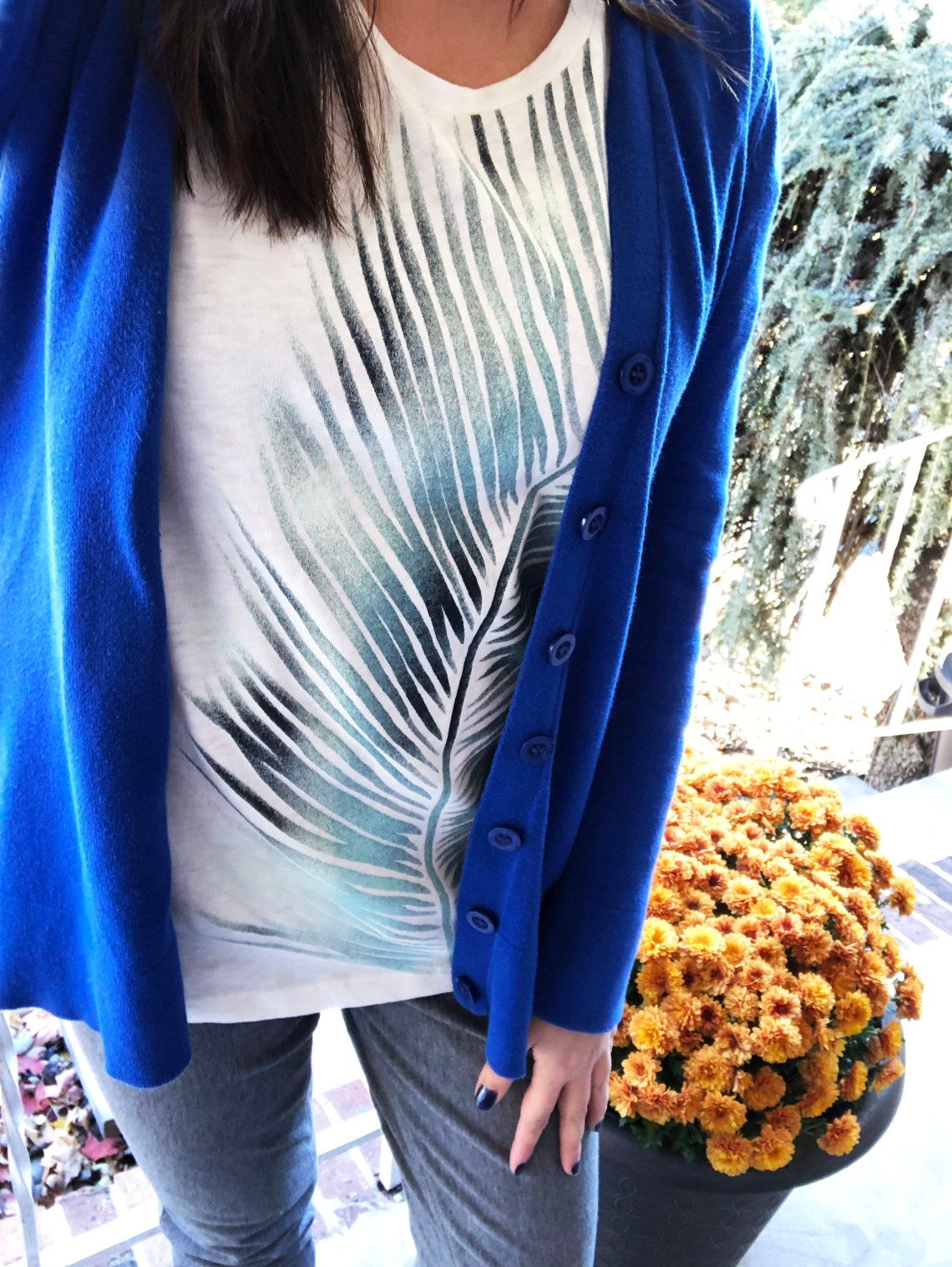 Cobalt Blue Cardigan + Palm Frond Tee