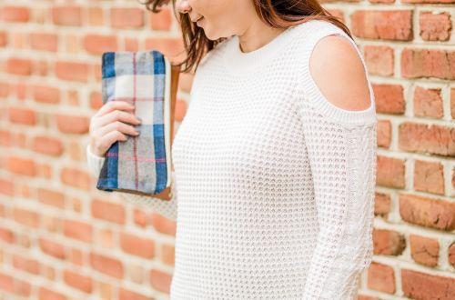 Waffle knit cold shoulder + plaid foldover clutch