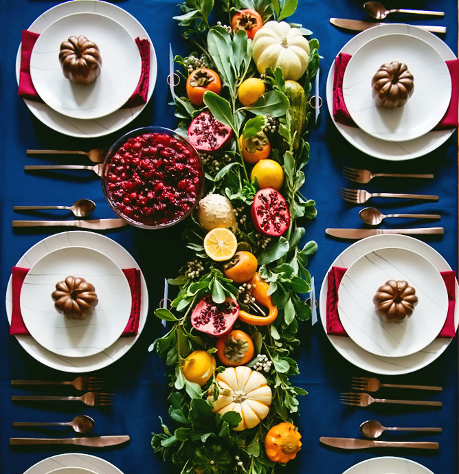 Greens and Copper Tablescape