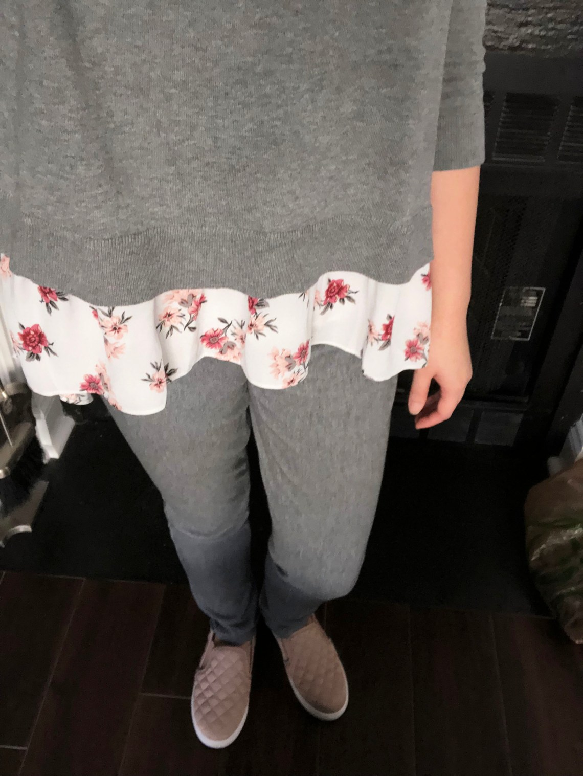 Grey & Floral Layered Top