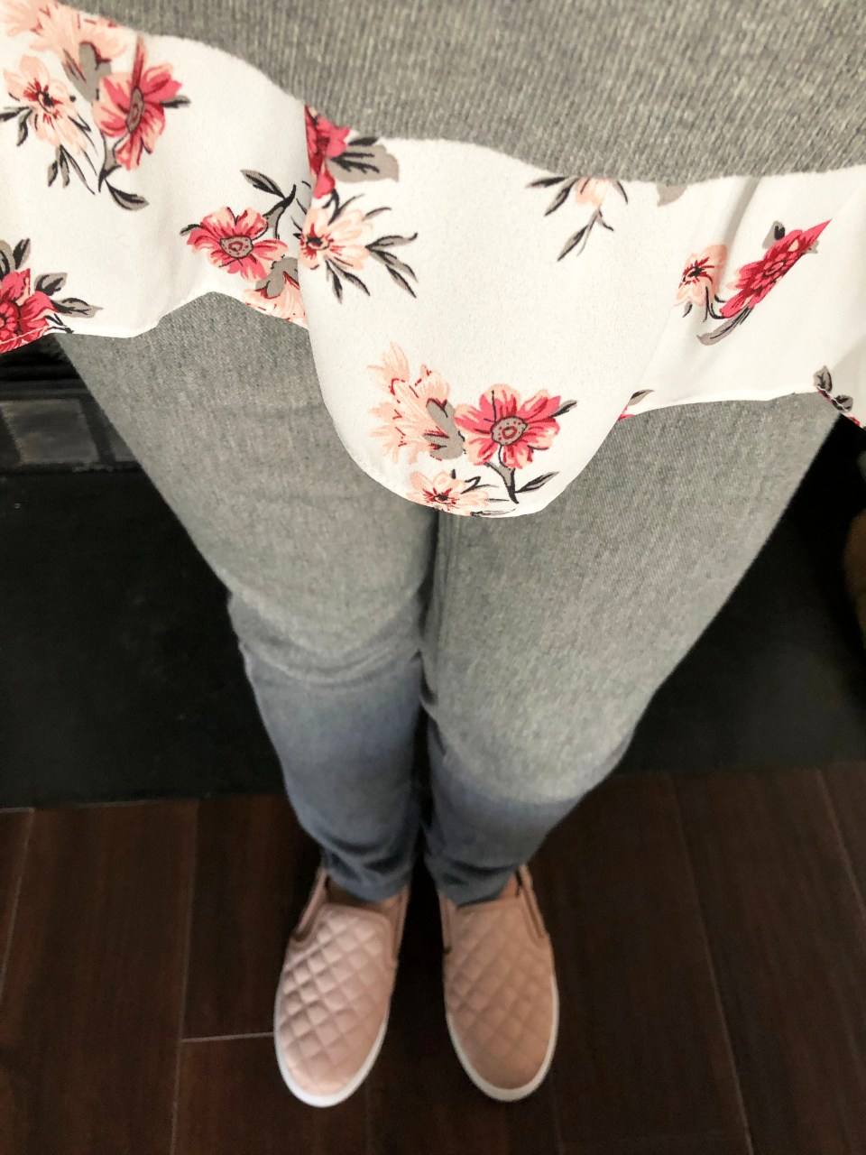 Grey & Floral Layered Top 3
