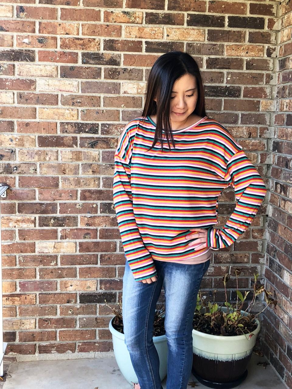 Multicolor Oversized Striped Top 2