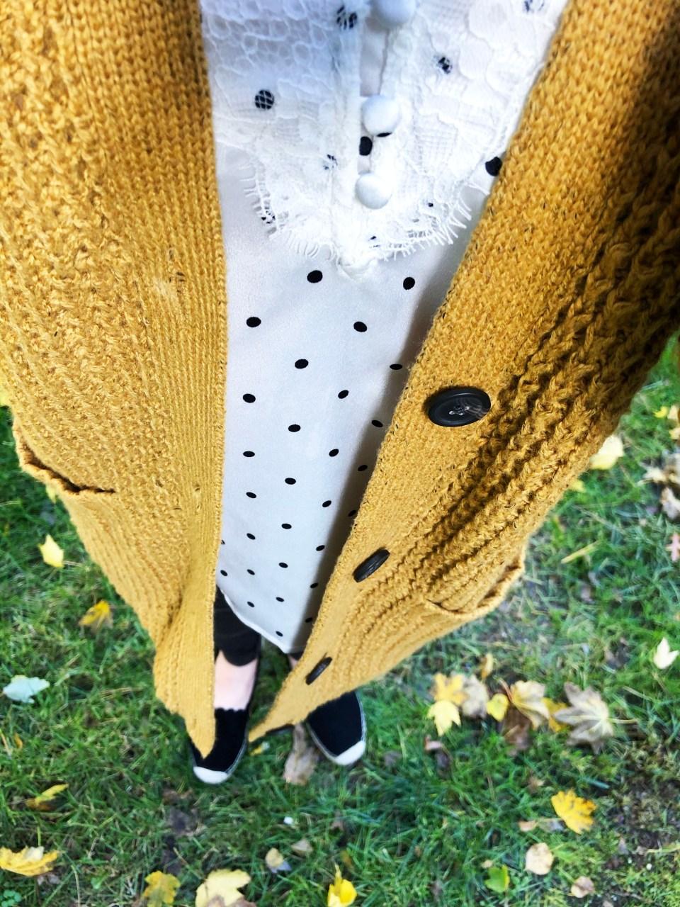 Mustard Waffle Knit Cardigan + Polka Dot Cami 1