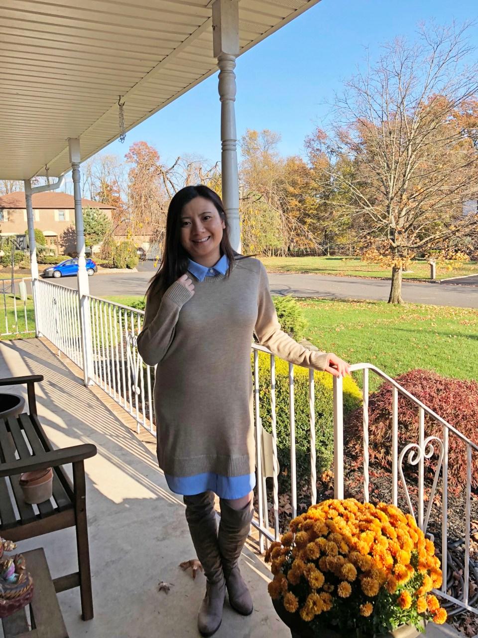 Oxford Blue Shirt Sweater Dress 11