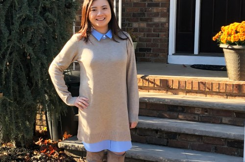 Oxford Blue Shirt Sweater Dress