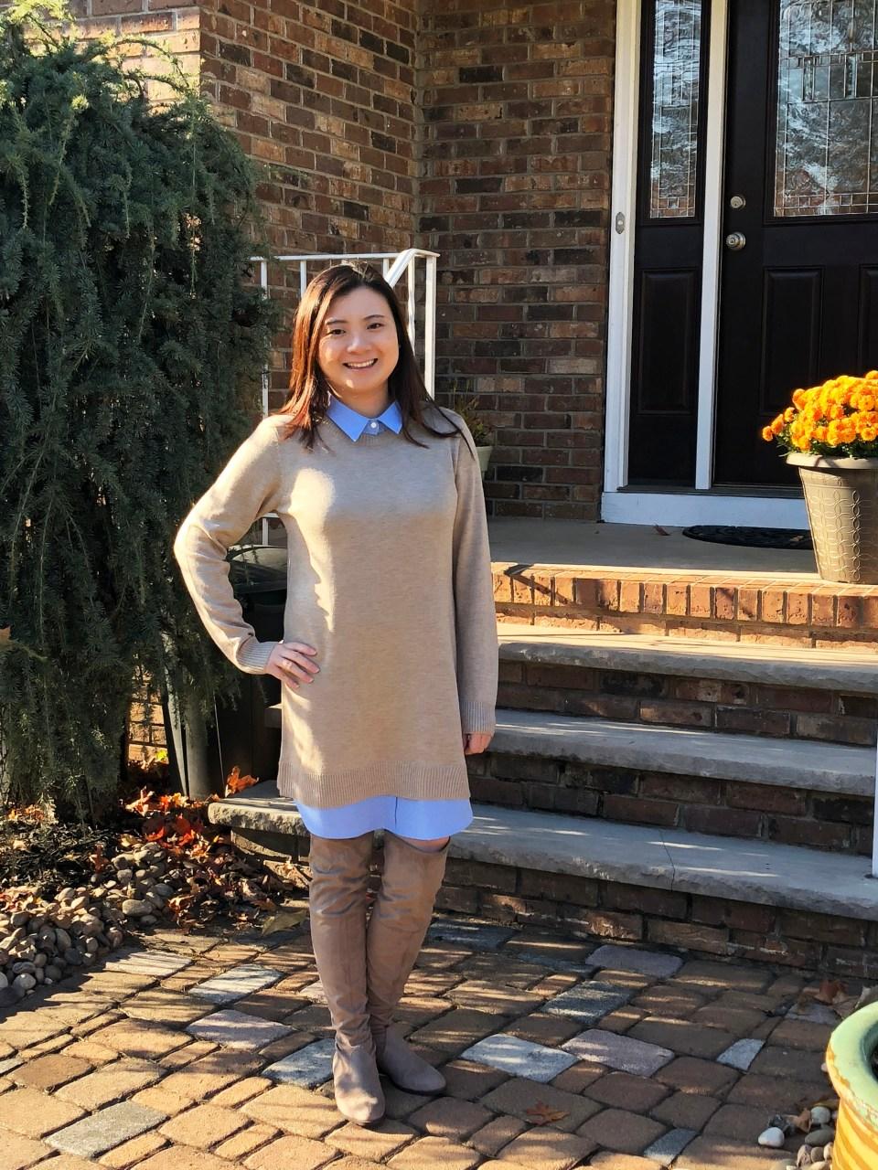 Oxford Blue Shirt Sweater Dress 3