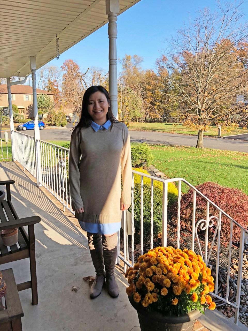 Oxford Blue Shirt Sweater Dress 9