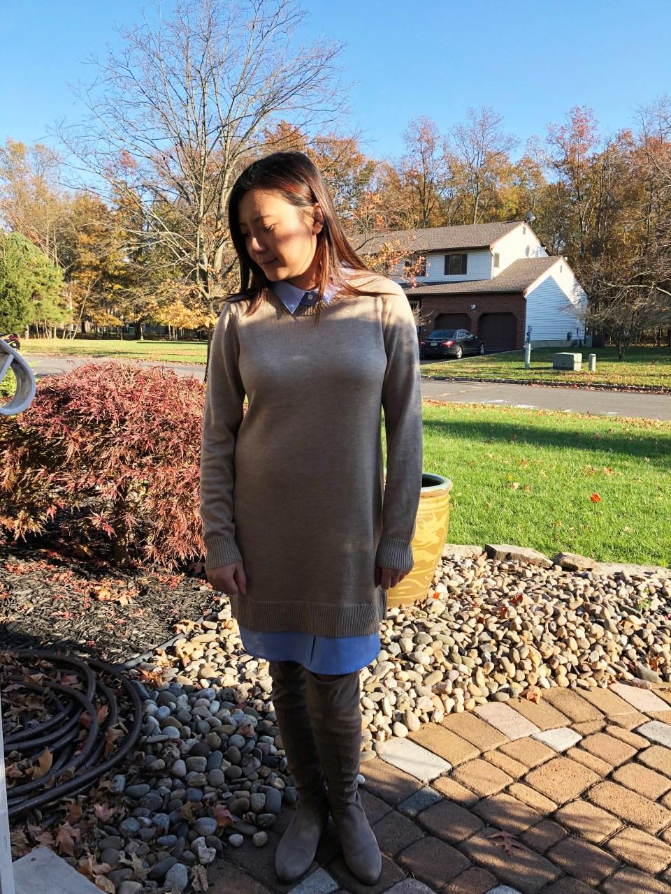 Oxford Blue Shirt Sweater Dress