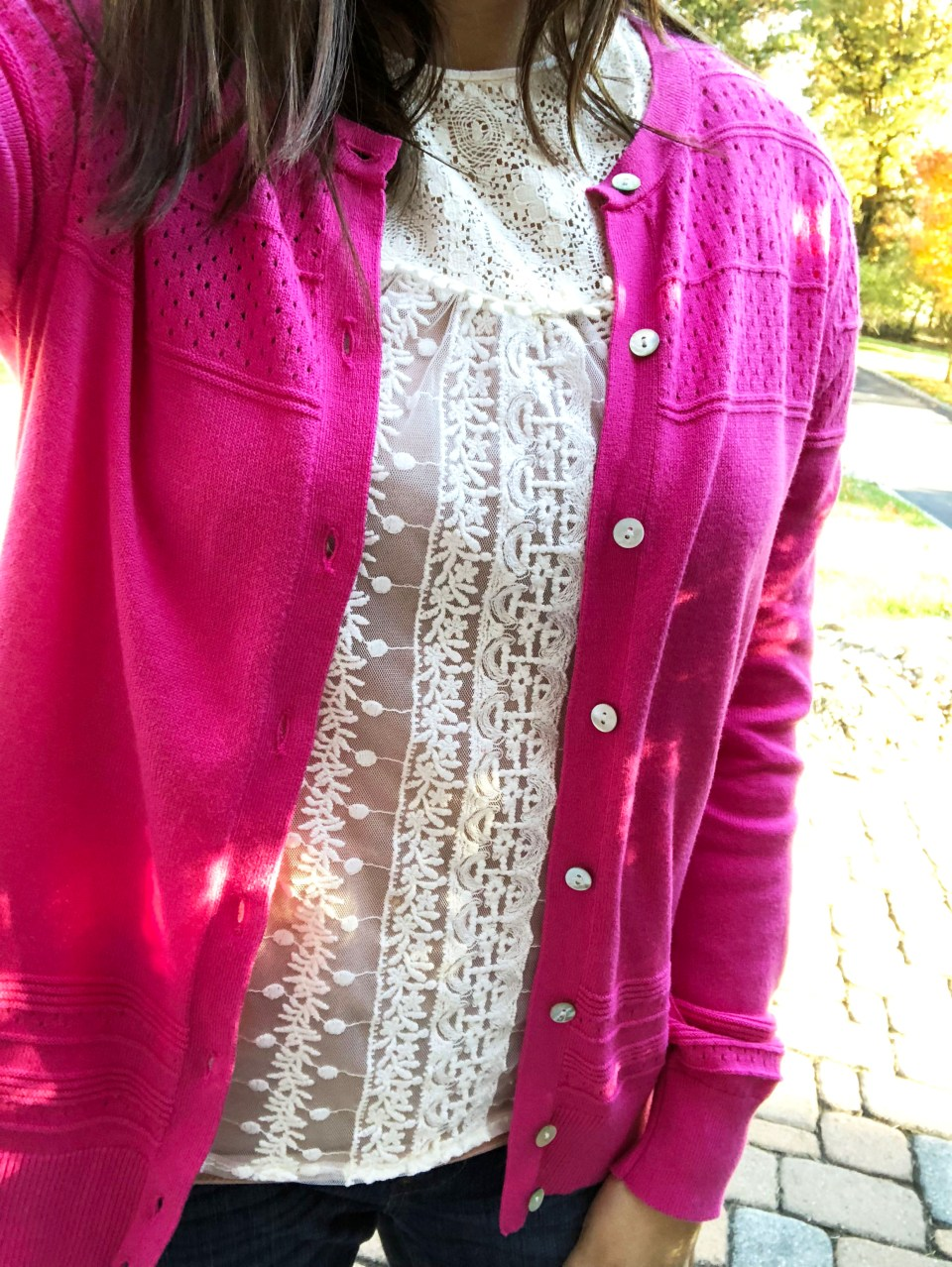 Pink Cardigan + Lace Top 9