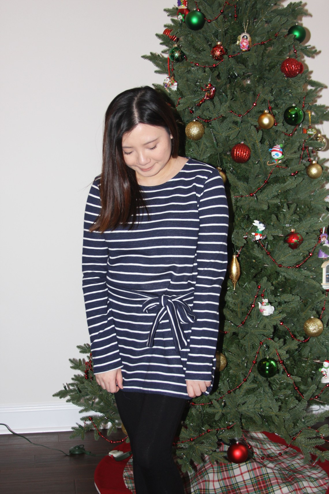 Blue & White Striped Belted Top