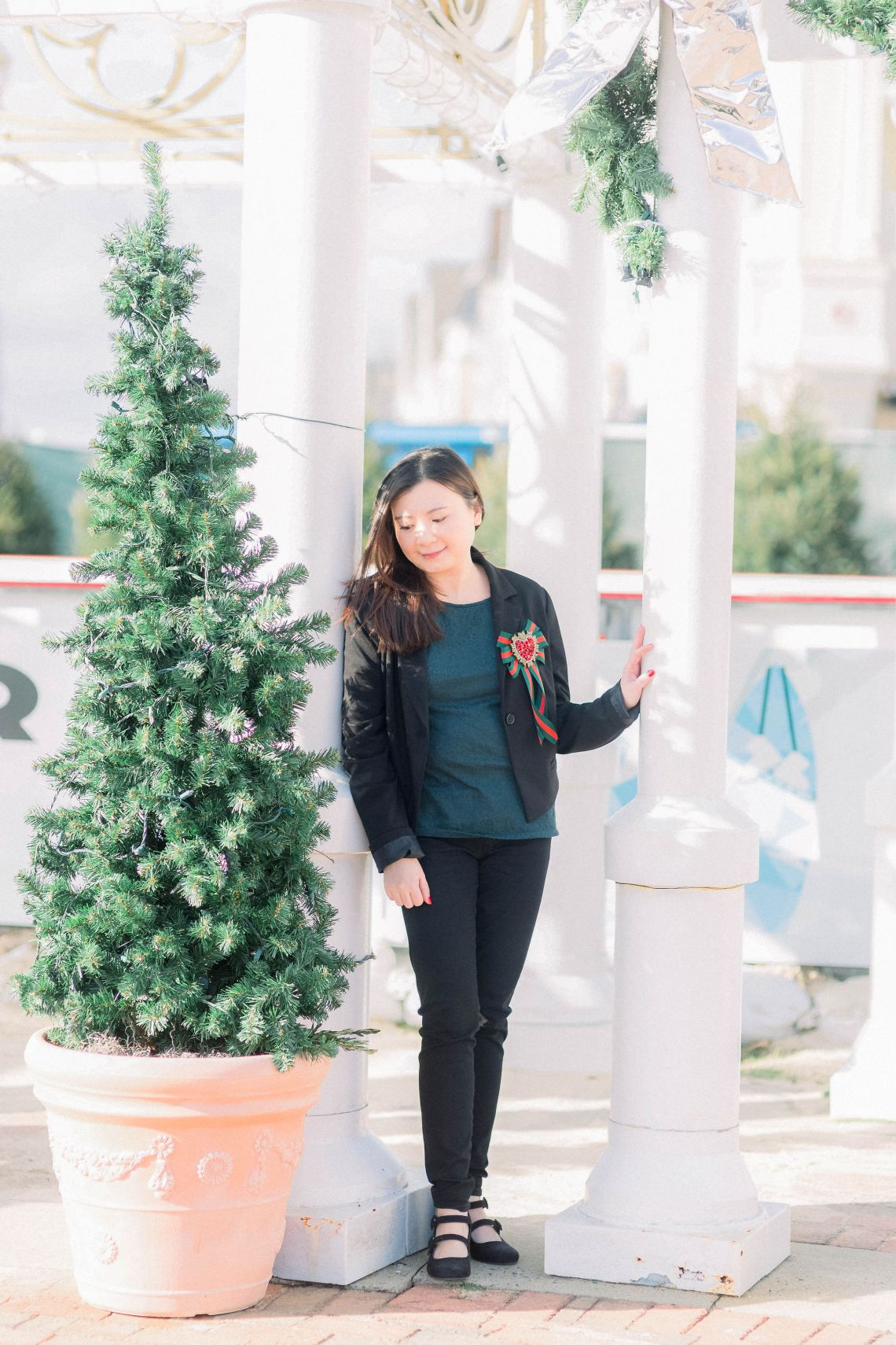 Blazer + Christmas Bow Brooch