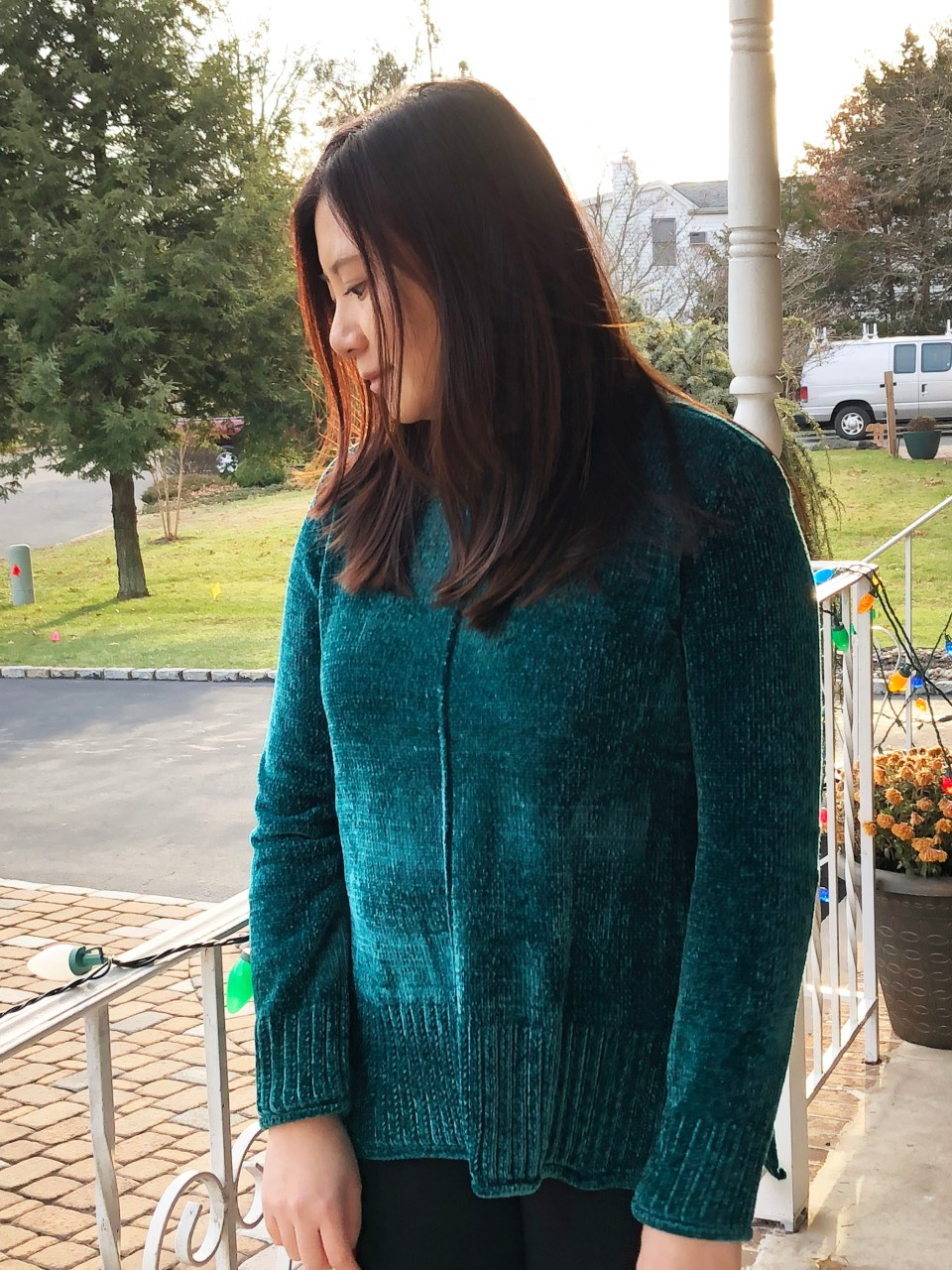 Green Chenille Sweater 2