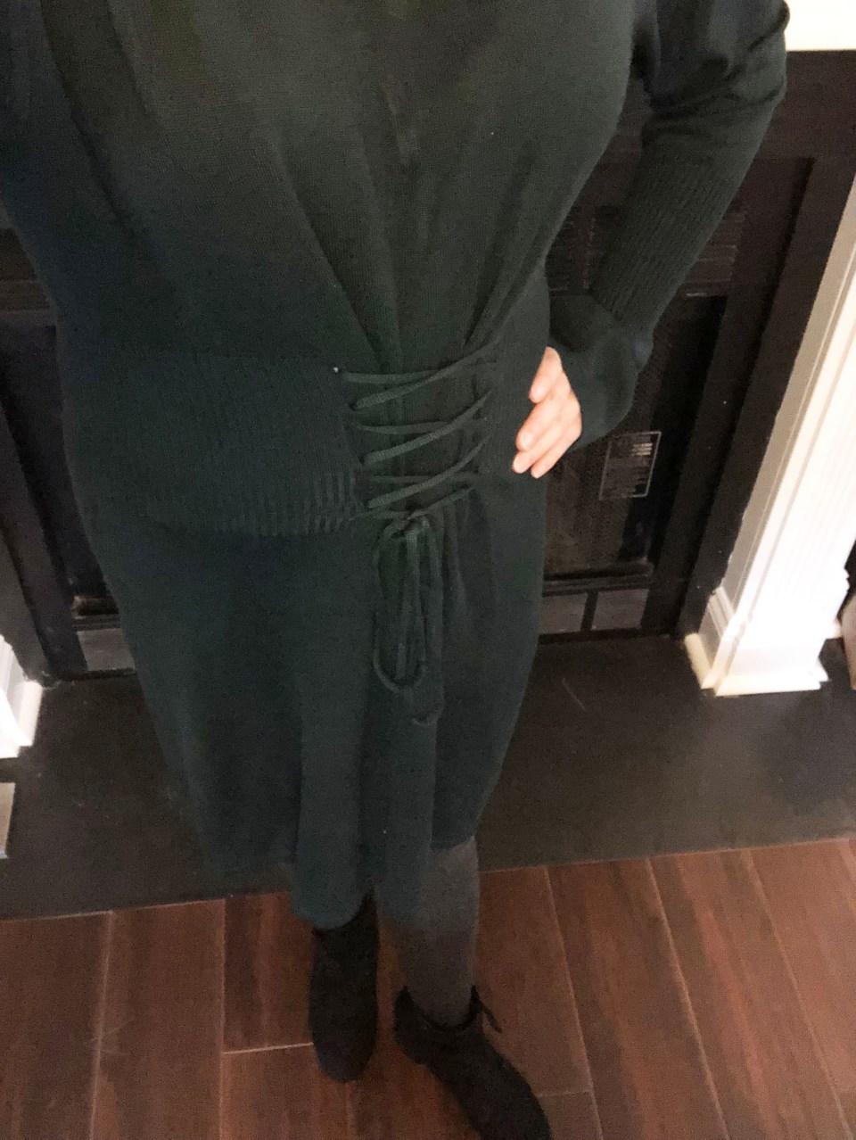 Green Corset Waist Sweater Dress 1