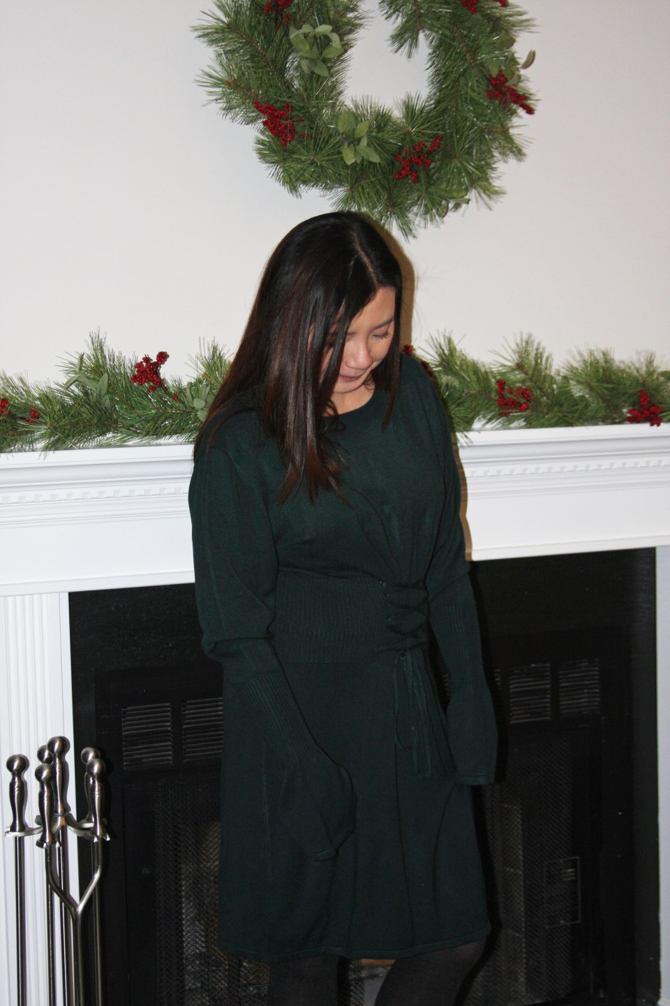 Green Corset Waist Sweater Dress 11