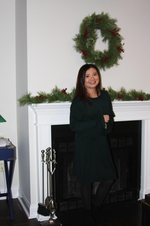 Green Corset Waist Sweater Dress 12
