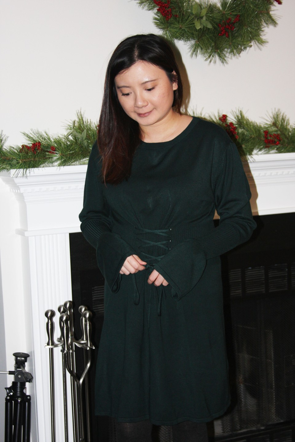 Green Corset Waist Sweater Dress 3