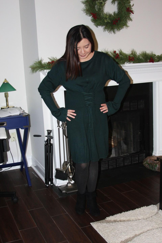 Green Corset Waist Sweater Dress 6