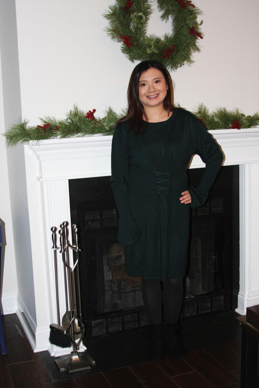 Green Corset Waist Sweater Dress 8