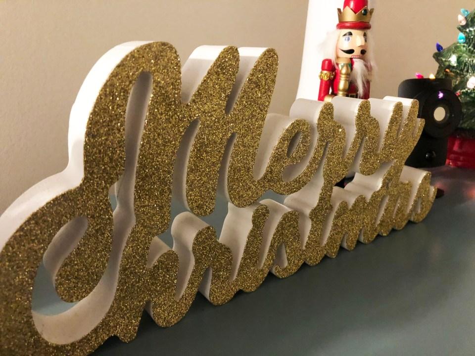 Merry Christmas glitter sign 1