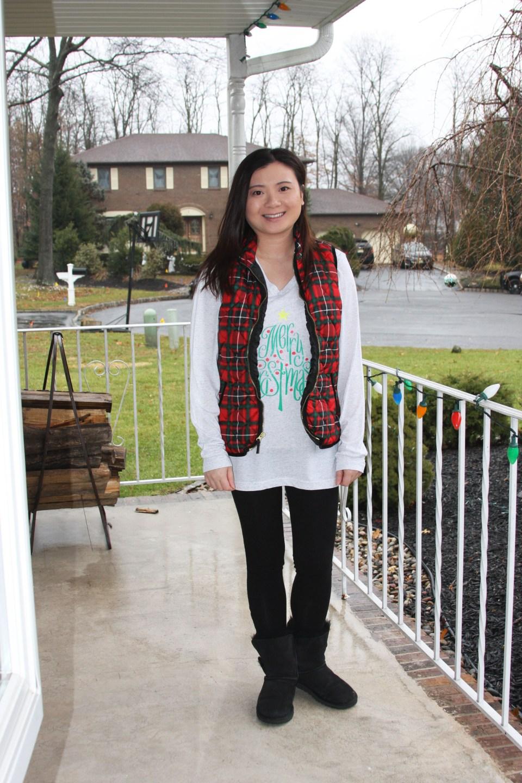 Merry Christmas tree tee + plaid vest 2