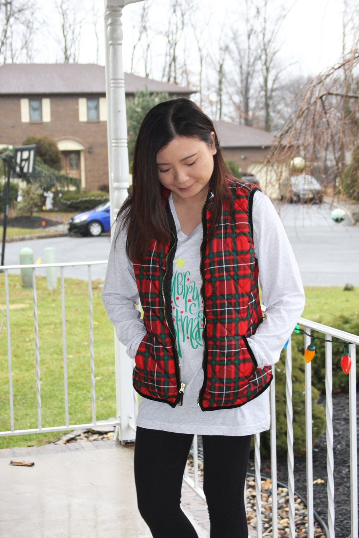 Merry Christmas tree tee + plaid vest 3