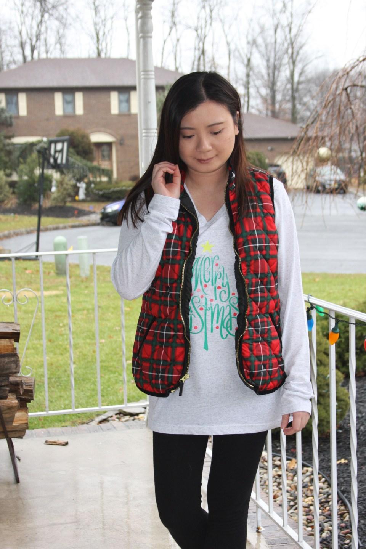Merry Christmas tree tee + plaid vest 7