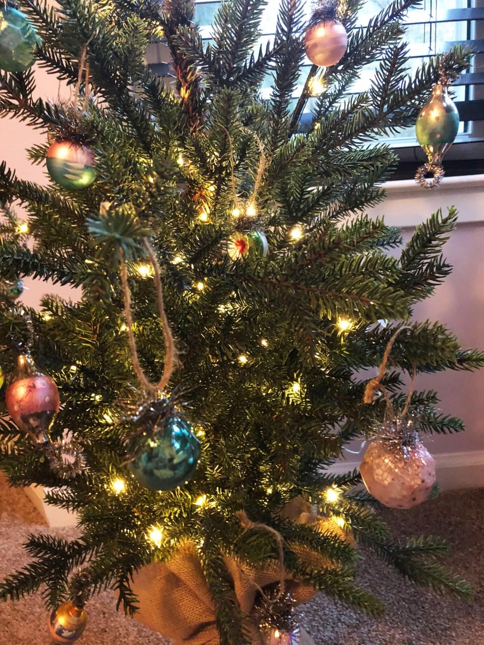 Mini Christmas Tree + Vintage Ornaments 2