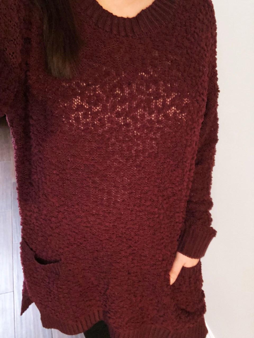 Burgundy Popcorn Sweater 15