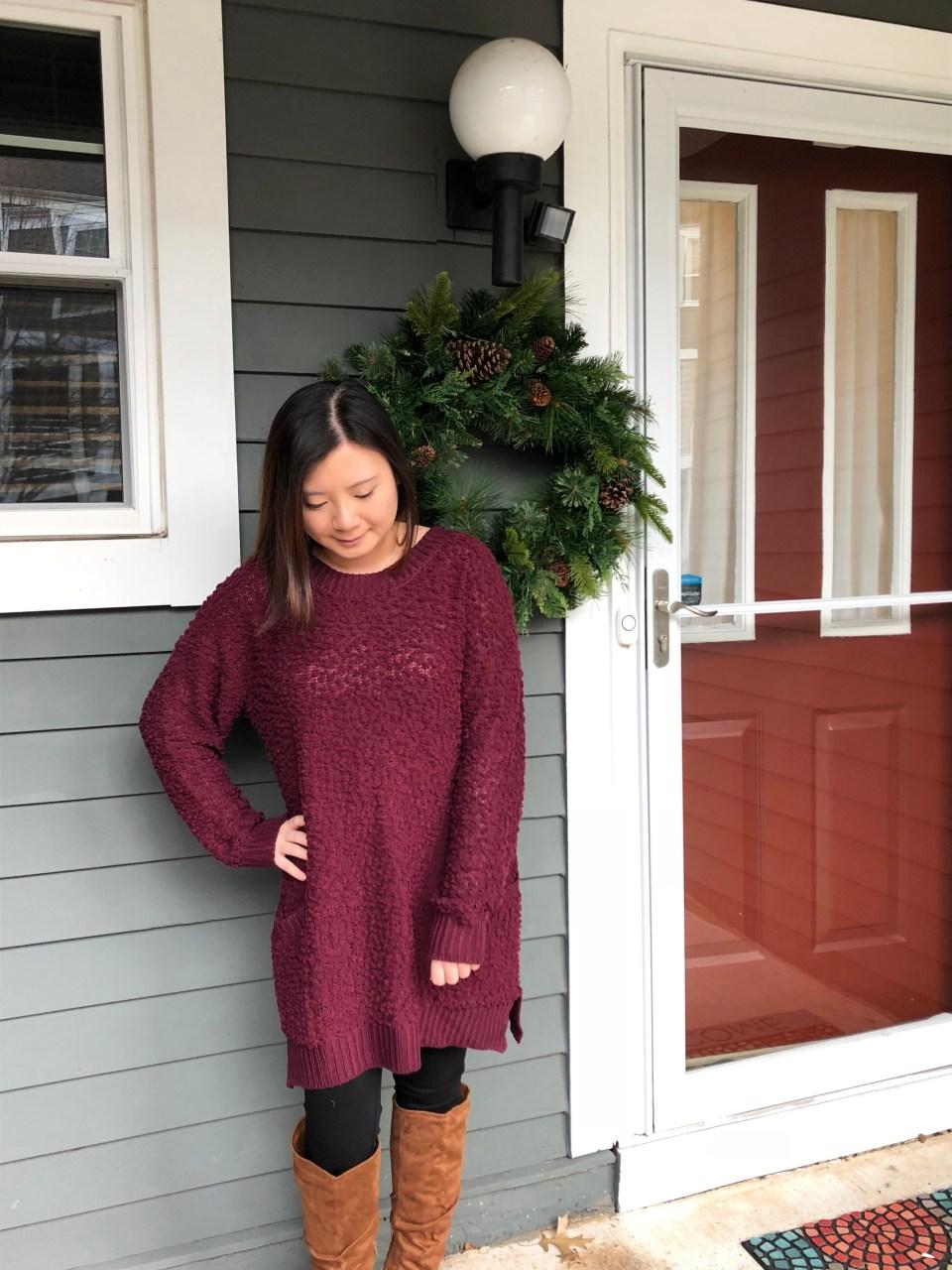 Burgundy Popcorn Sweater 5