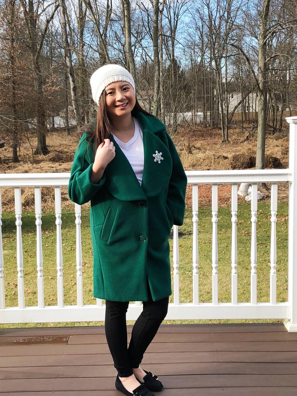 Green Lapel Coat + Snowflake Brooch 2