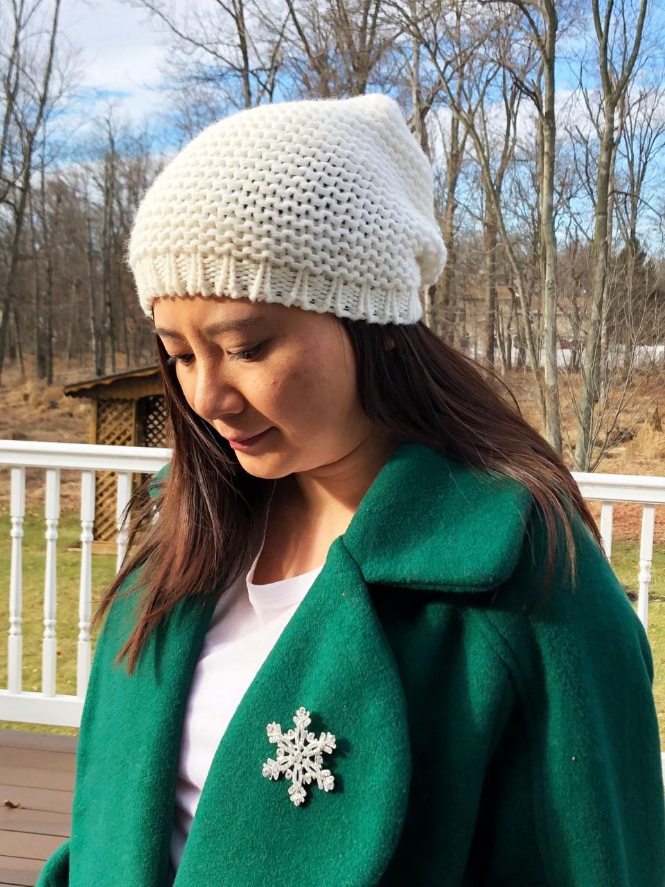 Green Lapel Coat + Snowflake Brooch 5